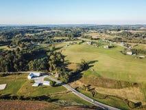 Antenn av Loganville, Pennsylvania runt om sjön Redman och sjö W Royaltyfri Bild