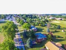 Antenn av Main Street område i Shrewsbury, Pennsylvania Fotografering för Bildbyråer