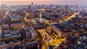 Antenn av Maydan Nezalezhnosti, den centrala fyrkanten av Kiev, Kyiv, Ukraina lager videofilmer