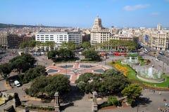 Antenn av Placa Catalunya, Barcelona, Spanien Royaltyfri Fotografi