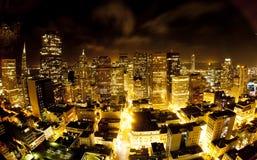 Antenn av San Francisco Downtown vid natt fotografering för bildbyråer