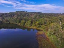 Antenn av sjön Redman i William Kain Park i Jacobus, Pennsylva Royaltyfri Fotografi