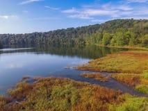 Antenn av sjön Redman i William Kain Park i Jacobus, Pennsylva Arkivbild