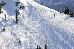 Antenn av skidåkning på Mt Washington F. KR., Kanada royaltyfri fotografi