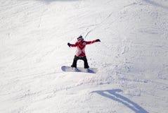Antenn av snowboarderen på Mt Washington F. KR., Kanada arkivbild