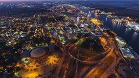 Antenn av staden på natten Royaltyfri Fotografi