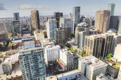 Antenn av Vancouver, Kanada centrum royaltyfri bild