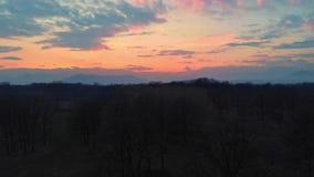 Antenn: flyga över bygd, parkerar skogskogsmarken och naturliga från över, färgrik himmel för solnedgången över fjällängarna, Pie stock video