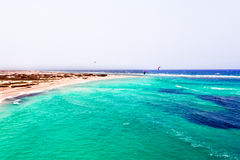 Antenn från den Boca Grandi stranden på den Aruba ön Arkivfoton