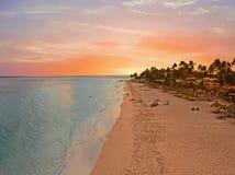 Antenn från den Druif stranden på den Aruba ön i det karibiskt på solnedgången Royaltyfri Fotografi
