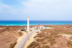 Antenn från den Kalifornien fyren på den Aruba ön i Caribben Arkivfoto