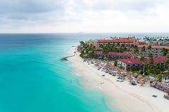 Antenn från den Manchebo stranden på den Aruba ön Fotografering för Bildbyråer