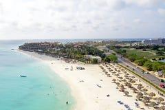 Antenn från den Manchebo stranden på den Aruba ön Royaltyfri Bild