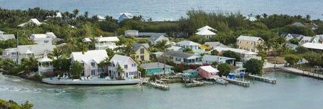 Antenn 180 grad panorama av Bahamas Arkivbilder