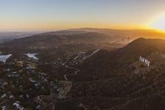 Antenn Los Angeles för sol för Hollywod kulleinställning Royaltyfri Foto