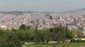 Antenn som panorerar skottet av Barcelona lager videofilmer