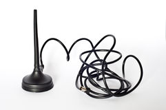 Antenna. Small portable antenna black on white background royalty free stock image