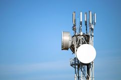 Antenna. Modern antenna with flat paraobla on blue sky Stock Image