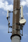 Antenna. Modern cell and antenna with flat parabola on blue sky Royalty Free Stock Images