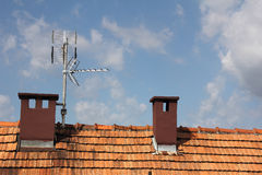 Antenna. S  to receive TV signals on the roof Stock Photos