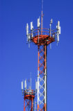Antenna. Tower with parabolic antennas and used for the transmission of communications Royalty Free Stock Images