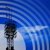 Antenna. With blue sky and abstract background vector illustration