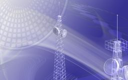 Antenna. Digital illustration of an antenna sending signals stock illustration