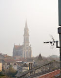 Antenna above the old town in mist Stock Photography