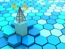 Antenna. Abstract 3d illustration of hexagons network and antenna vector illustration