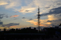 Antenna. Alone antenna sky cloud signals Royalty Free Stock Images