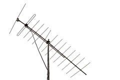 Antenna analogica della TV su un fondo bianco Fotografia Stock