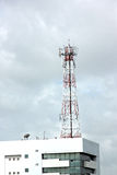 Antenna array telephone on Roof Building. Stock Photo
