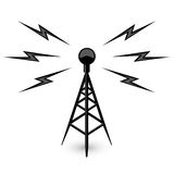 Antenna - broadcast tower icon. With lightning Royalty Free Stock Photography