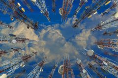 Antenna of cellular cell phone and communication system tower wi Royalty Free Stock Photo