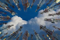 Antenna of cellular cell phone and communication system tower wi Stock Photos