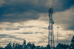 Antenna of cellular and communication system tower with the blue Royalty Free Stock Photos