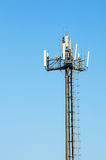 Antenna cellular networks against the blue clear sky. Modern antenna cellular networks against the with flat parabola on blue sky Stock Images