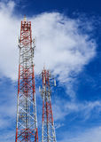 Antenna and cellular tower in blue sky Stock Photo