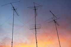Antenna on colorful sky Royalty Free Stock Photography