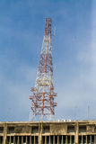 Antenna of Communication Building and blue sky Royalty Free Stock Image