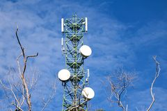Communication Building tower with blue sky and leafless trees. Antenna of Communication Building tower with blue sky and leafless trees Royalty Free Stock Photos