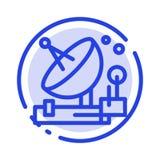 Antenna, Communication, Parabolic, Satellite, Space Blue Dotted Line Line Icon stock illustration