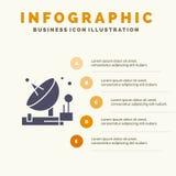 Antenna, Communication, Parabolic, Satellite, Space Solid Icon Infographics 5 Steps Presentation Background royalty free illustration