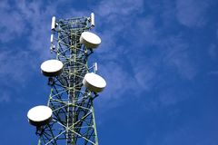 Antenna of Communication tower and blue sky. Antenna of Communication Building tower and blue sky Royalty Free Stock Photo