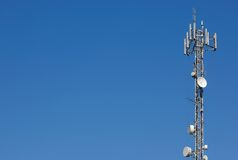 Antenna communications tower. Royalty Free Stock Image