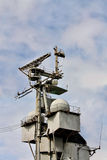 Antenna complex on the navy ship board Stock Images