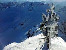 Antenna congelata ad area dello sci di Zugspitze in alpi all'inverno, Germania Fotografia Stock Libera da Diritti