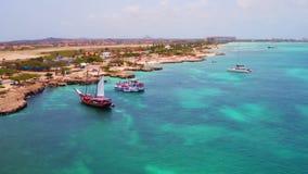Antenna dalla costa ovest dall'isola di Aruba video d archivio