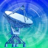 Antenna dei riflettori parabolici - radar doppler e fondo blu di tecnologia illustrazione di stock