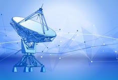 Antenna dei riflettori parabolici - radar doppler, onda digitale e fondo blu di tecnologia illustrazione vettoriale